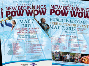 Posters for University of Denver's New Beginnings Pow Wow